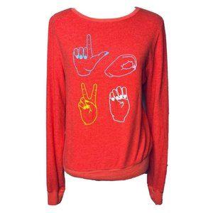 NWT Wildfox Womens Love Signs Sweatshirt Red Sm
